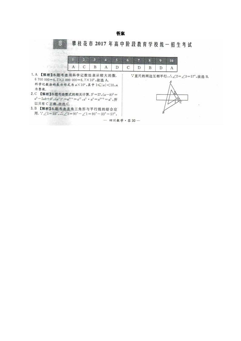 四川攀枝花2017年中考数学试题答案(图片版)