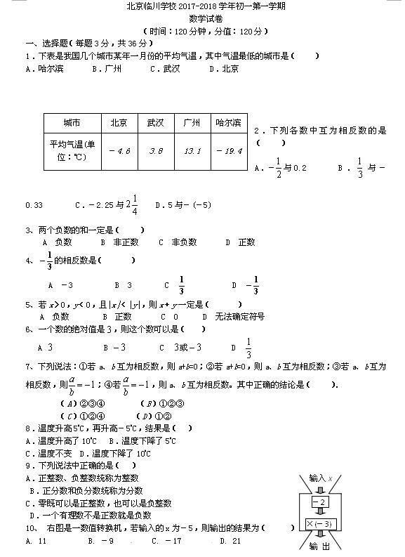 2017-2018北京昌平临川育人学校初一上第一次月考数学试题(图片版)