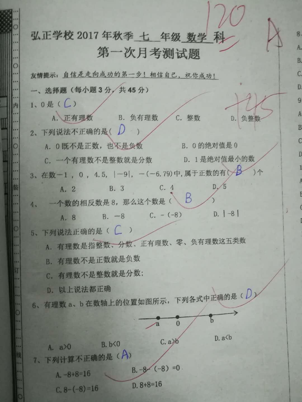 2017-2018广东东莞弘正学校初一上第一次月考数学试题(图片版)