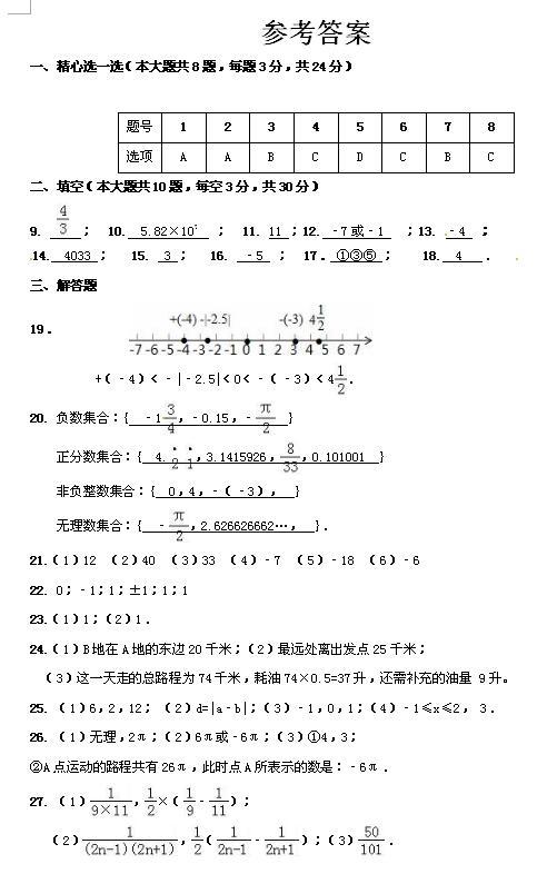 2017-2018江苏宝应初一上第一次月考数学试题答案(图片版)
