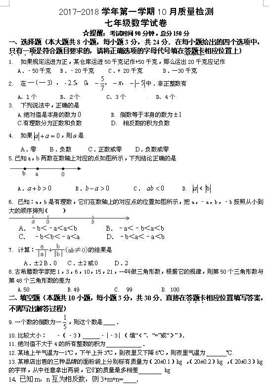 2017-2018江苏扬州竹西中学初一上10月月考数学试题(图片版)