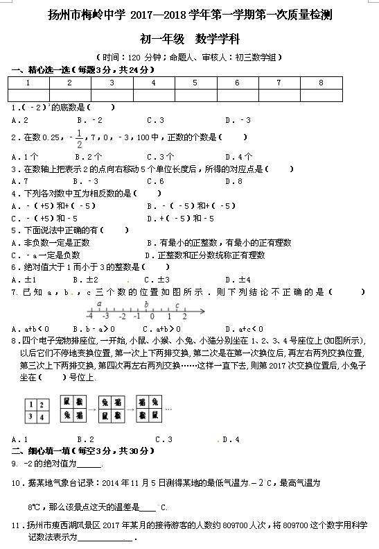 2017-2018江苏扬州梅岭中学初一上第一次月考数学试题(图片版)