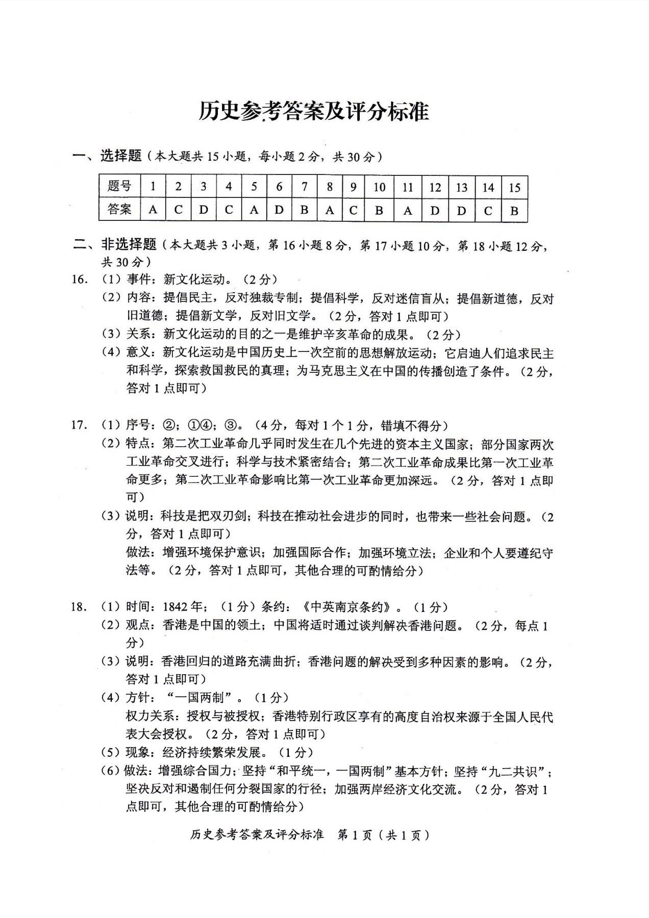 广西梧州2017中考历史试题答案(图片版)
