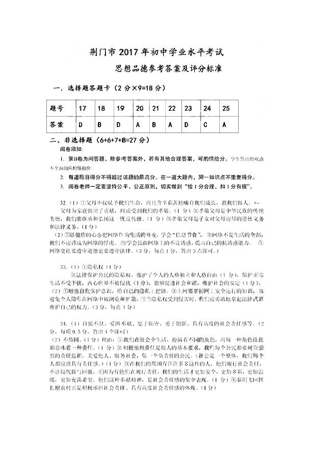 湖北荆门2017中考文综(政治部分)试题答案(图片版)