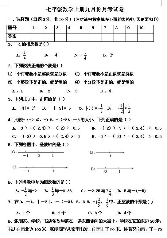 2017-2018湖北松滋镇泰民族学校初一上第一次月考数学试题(图片版)