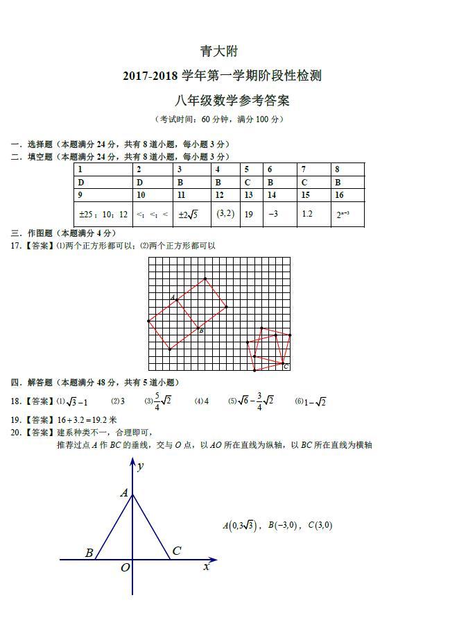 2017-2018山东青岛大学附属中学初二上10月月考数学试题答案(word版)