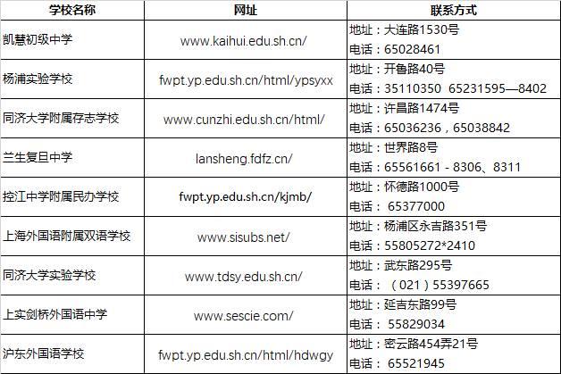 2018上海小升初择校杨浦区民办初中联系方式