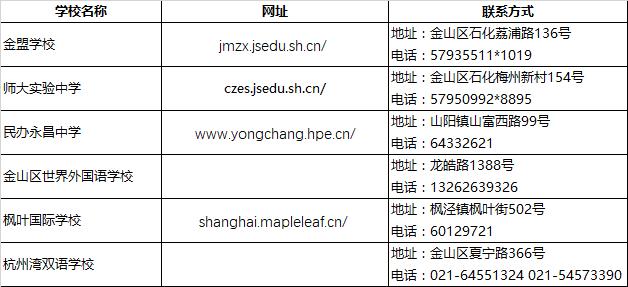 2018上海小升初择校金山区民办初中联系方式