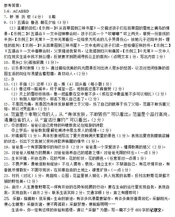 2018届江苏扬州树人学校七年级上语文期中试题答案(图片版)