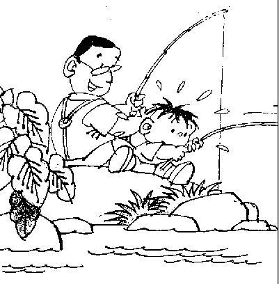 小学一年级看图作文范文:《钓鱼》