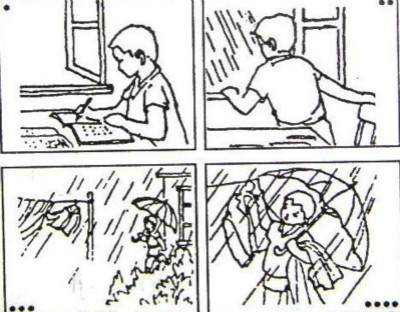 小学一年级看图作文范文:《下雨啦》