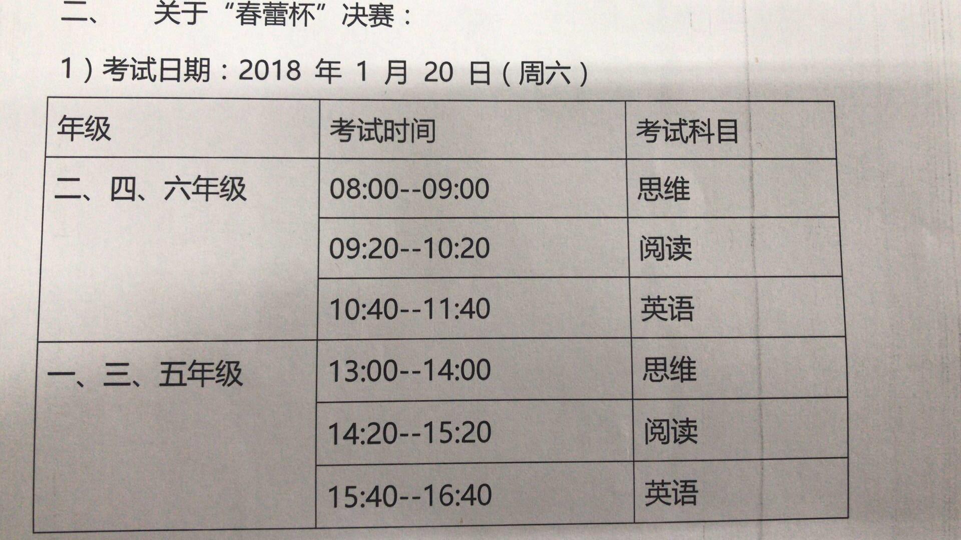 2018年上海春蕾杯决赛考试时间安排公布