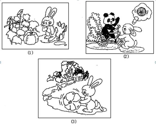 例文: 一天早上, 小兔蹦蹦跳跳地来到南瓜地。在大叶子下面长着一个个黄澄澄的大南瓜,小兔子飞快地走进南瓜地里,她精心挑选了一个跟她差不多大的南瓜。小兔试着用手去搬,可是她用尽全身力气,南瓜像生了根似的,怎么也搬不动。它会一屁股坐在南瓜上,说:哎,我搬不动,怎么办呢?