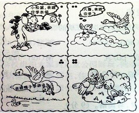 小学二年级看图作文范文:《小山雀学本领》