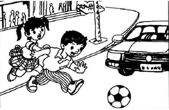 小学二年级看图作文范文:《不要在马路上玩》