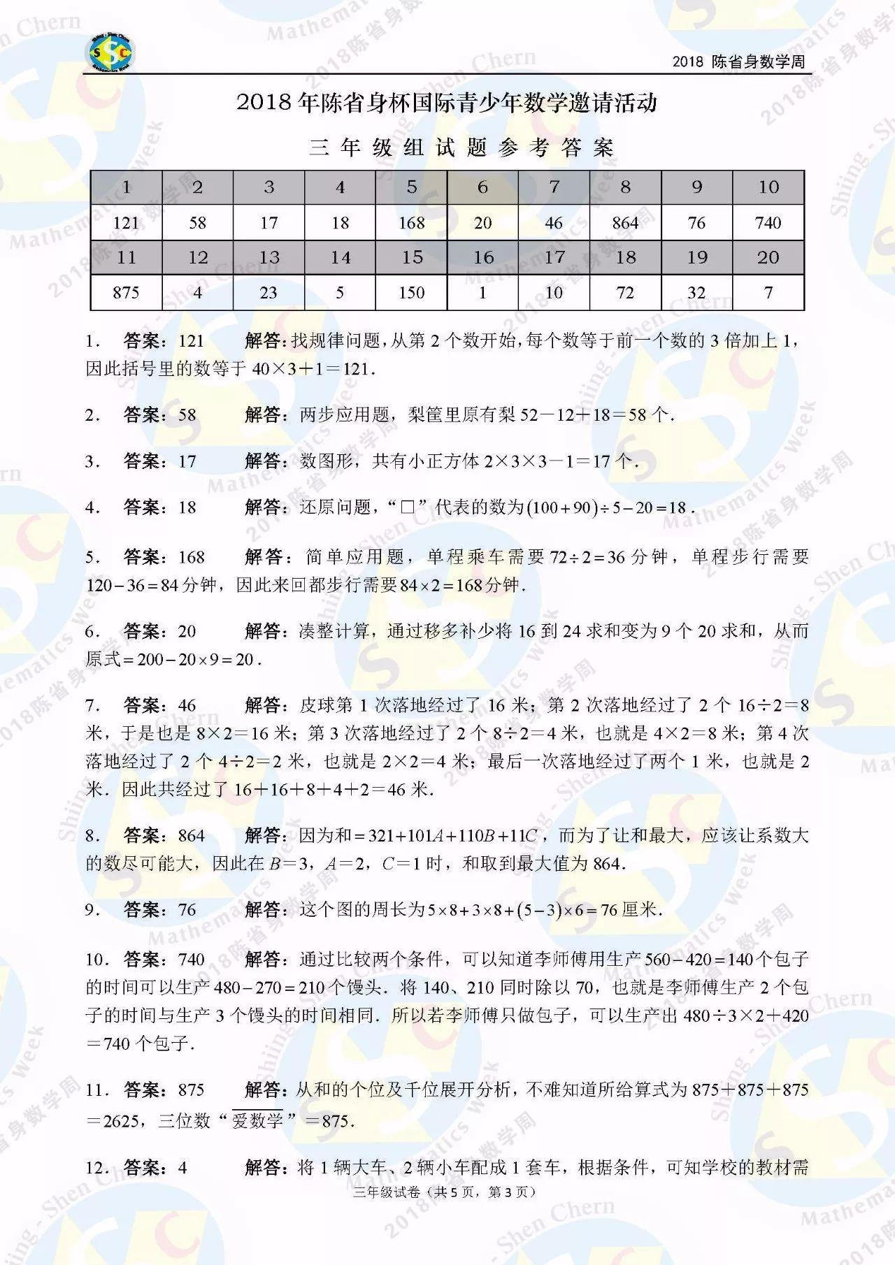 2018年陈省身杯国际青少年数学邀请赛三年级答案解析1