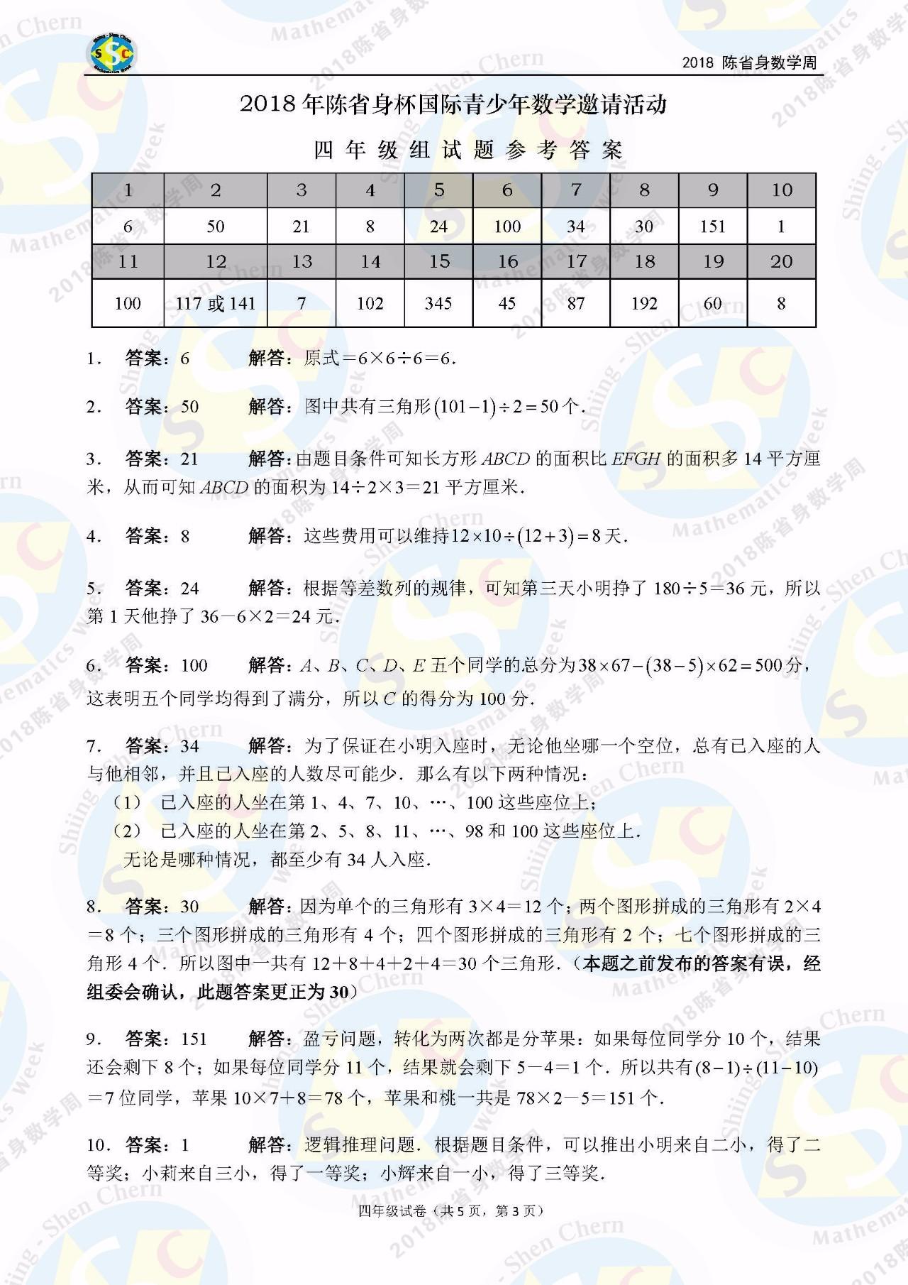 2018年陈省身杯国际青少年数学邀请赛四年级答案解析1