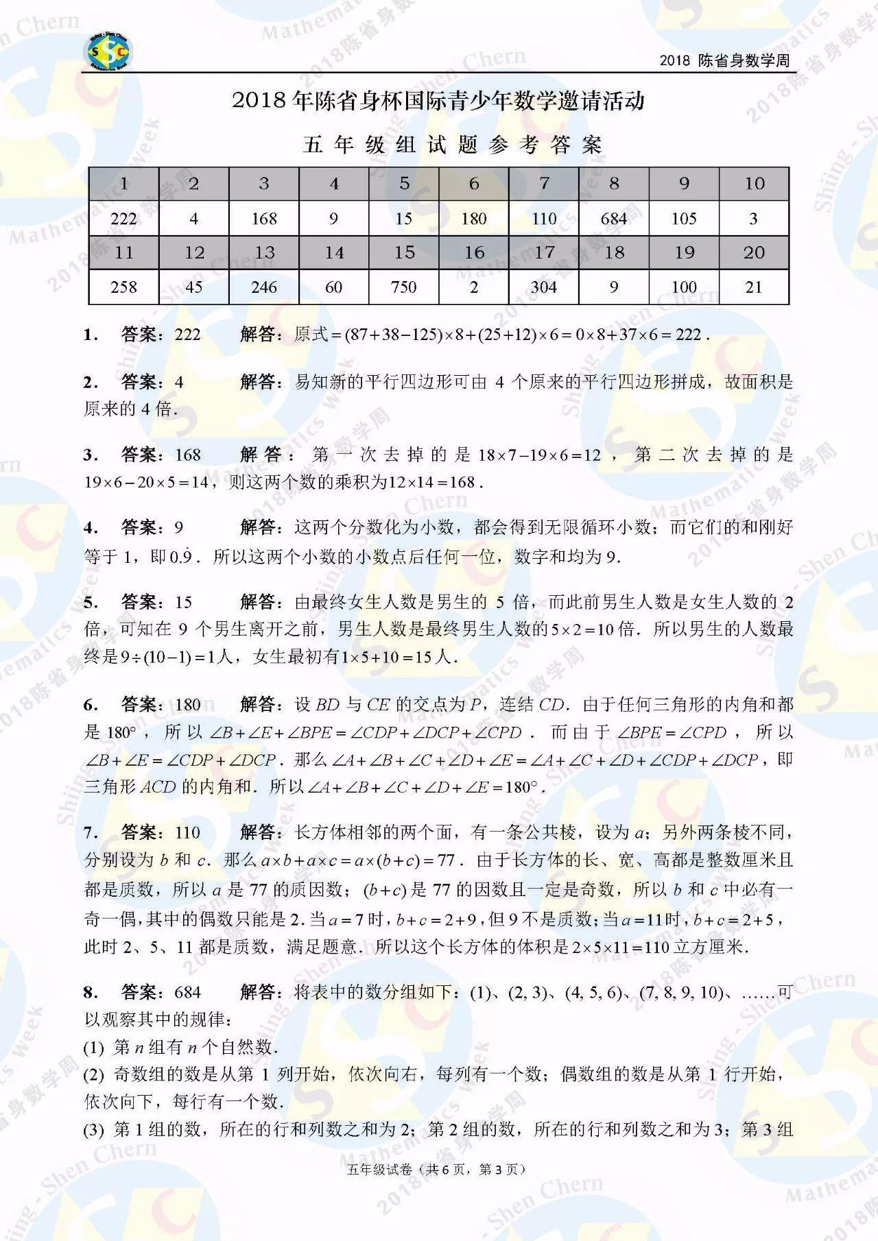2018年陈省身杯国际青少年数学邀请赛五年级答案解析1
