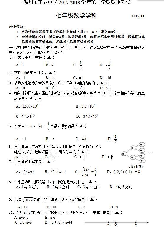 2018届浙江温州八中七年级上数学期中试题(图片版)