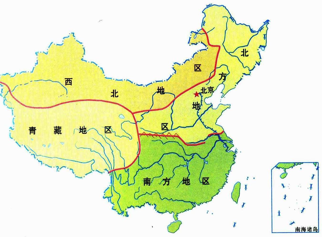 我国四大地理区域图_初中中国地理知识点归纳:秦岭——淮河线_中国地理_中考网