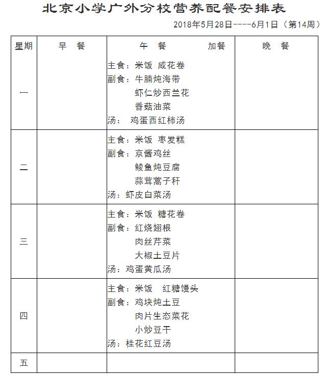 2018北京小学广外分校学生食谱(5.28-6.1)