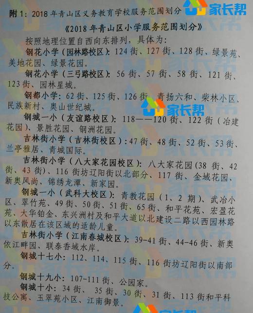 2018年武汉青山区各小学对口划片