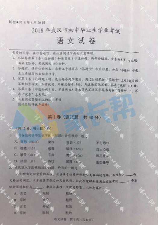 2018年湖北武汉中考语文试题