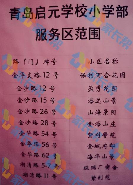 2018年青岛市启元小学招生划片范围公布
