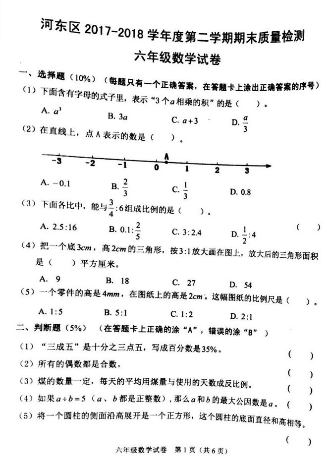 2017年天津市河东区六年级升级考试数学试卷1