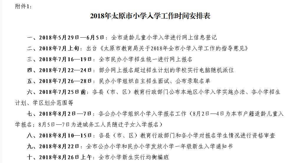 2018年太原市小学入学工作时间安排表