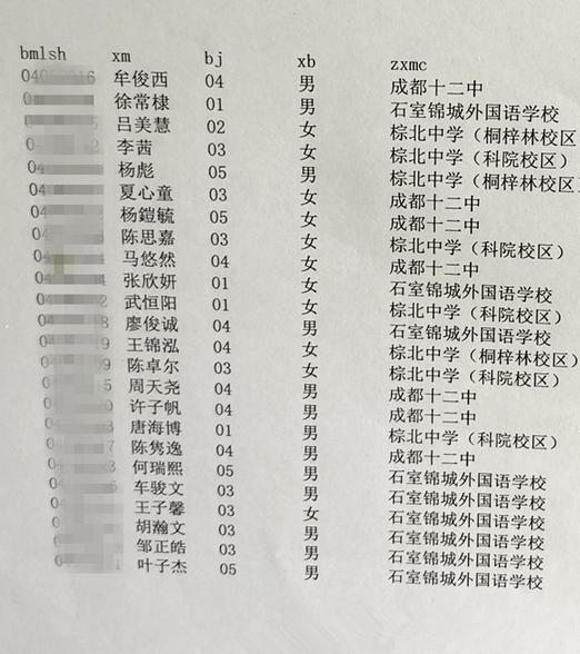 2018年成都市龙小南区派位录取结果