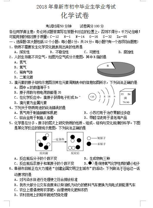 2018年辽宁省阜新中考化学学业考试题