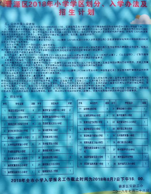 2018年太原市普源区小学招生计划公示