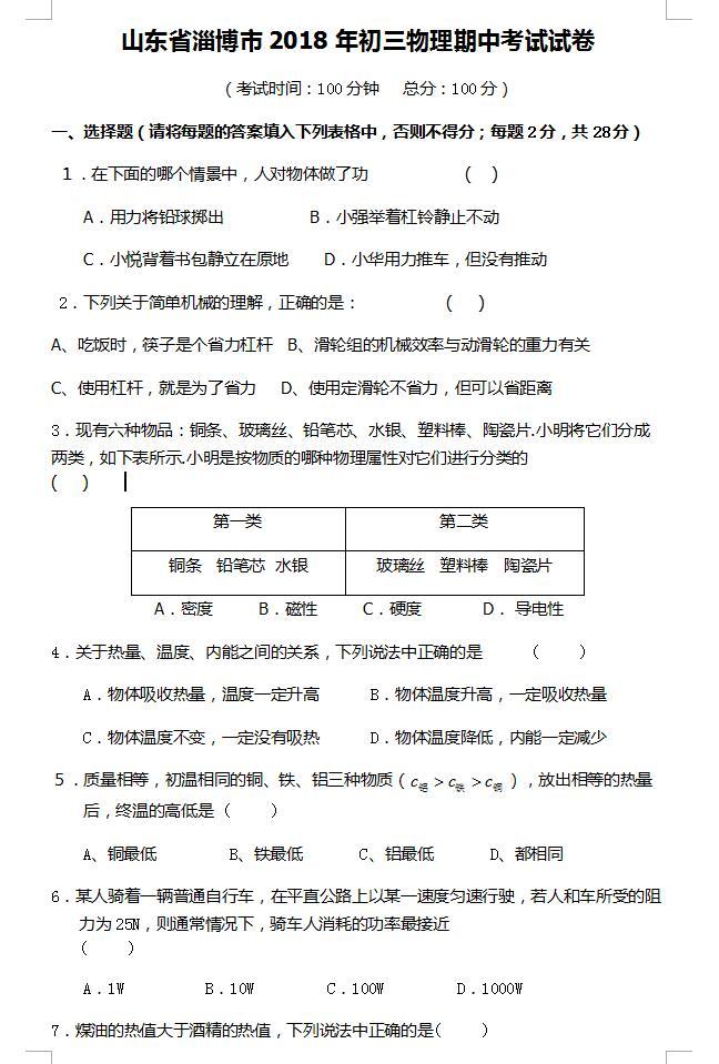 2018山东淄博九年级下物理期中试题(下载版)