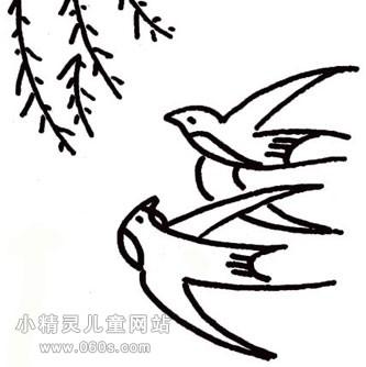 幼儿园简笔画教案 飞翔的两只燕子和柳树 2