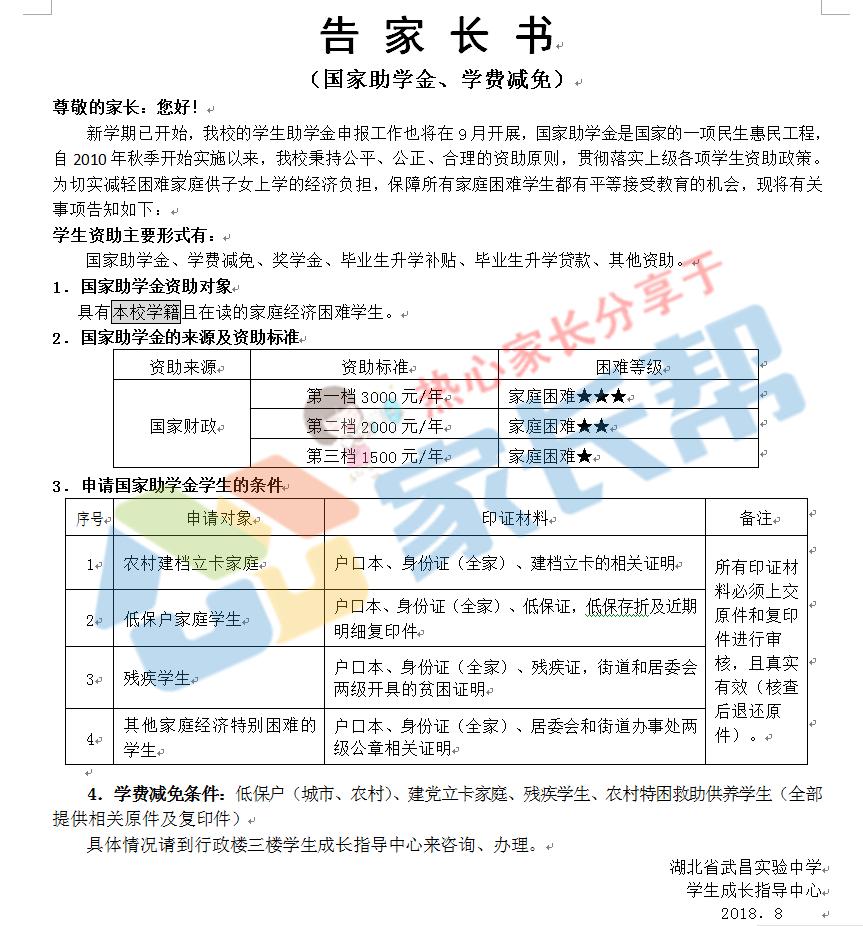 2018年湖北武昌实验中学告家长书