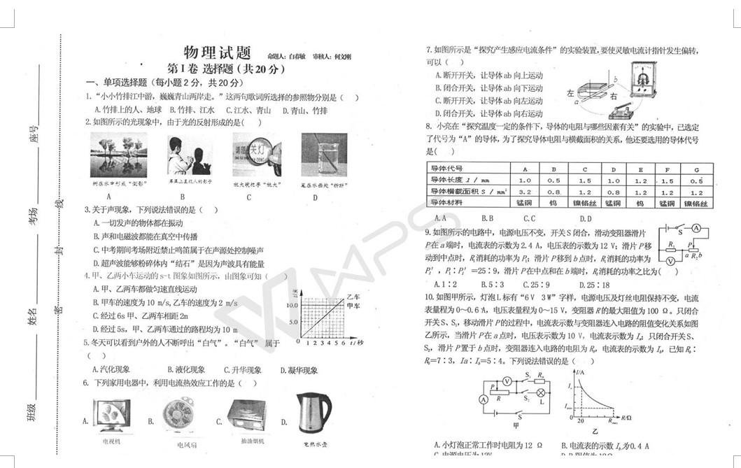 2018美国济宁市v条件条件初三下月考高中物理读试卷山东中学图片