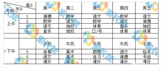 2018年青岛市超银小学金沙路校区一年级课程表