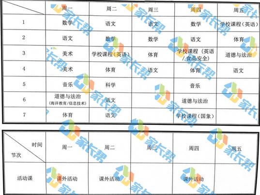 2018年青岛榉园小学一年级课程表