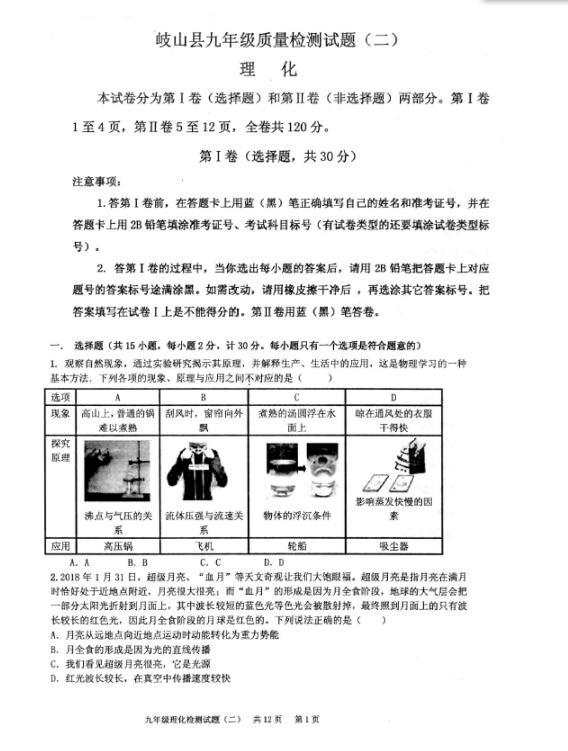 2018陕西岐山宝鸡九质量二模物理试题(下载版v质量作文年级高中图片