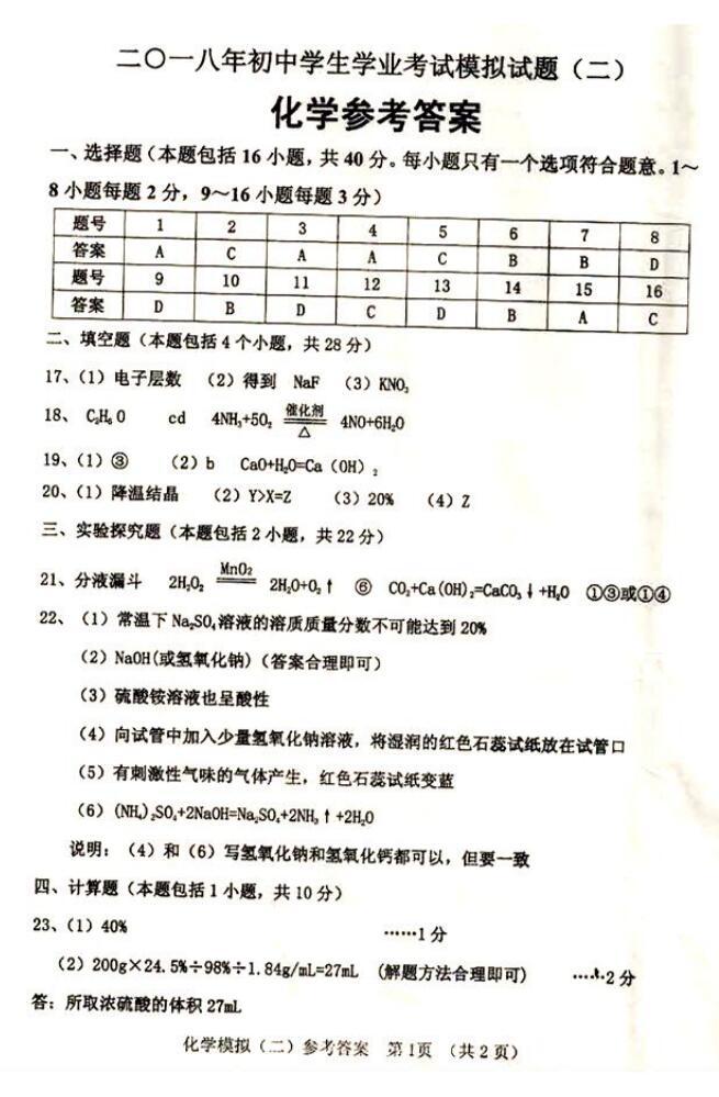 2018山东聊城高唐二模化学试题答案(下载版)