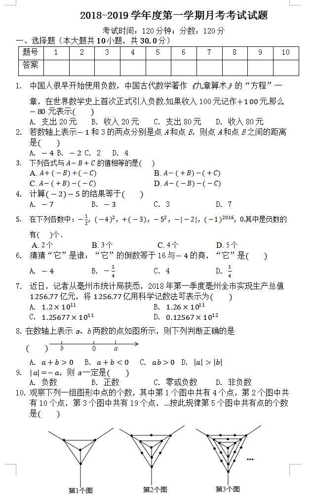 2019亳州安徽启明初中七男孩上月考数学试题v初中的中学年级图片