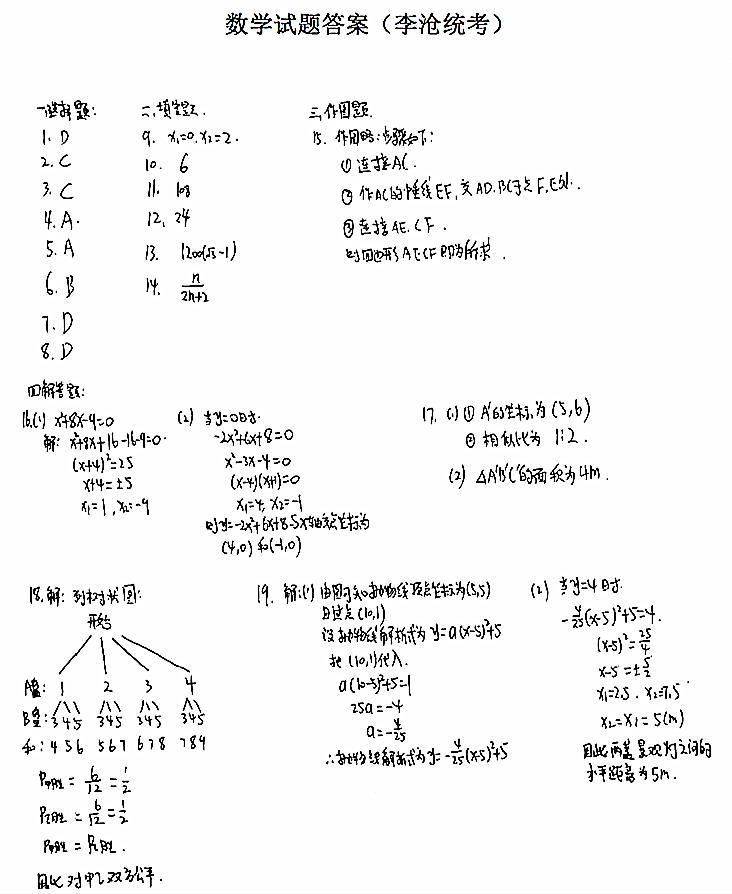 2018-2019山东青岛李沧九年级上数学期末试题答案(图片版)