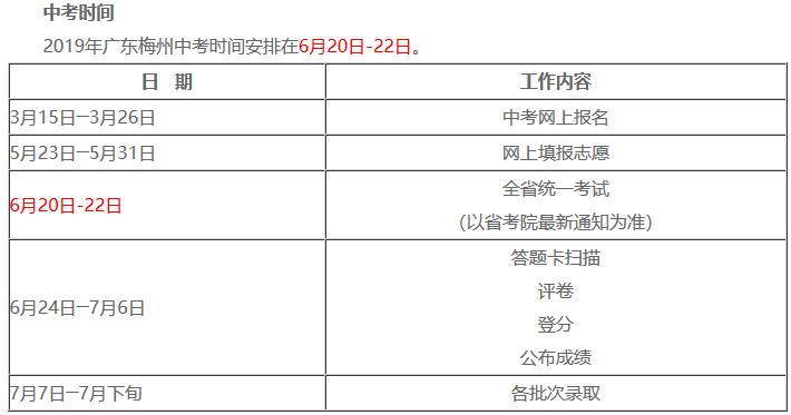 2019年广东梅州中考考试时间:6.