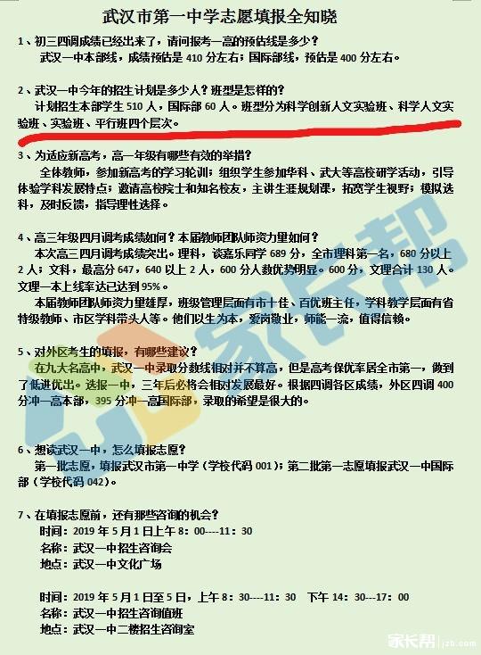 2019中考武汉一中志愿填报指南