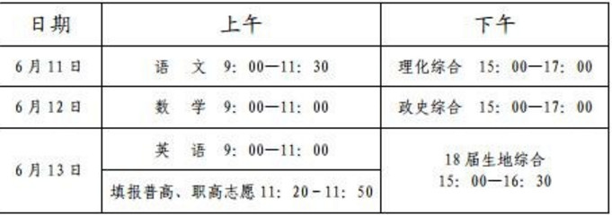 2019年四川内江中考考试时间:6月