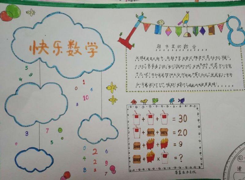 小学三年级数学手抄报:快乐数学一