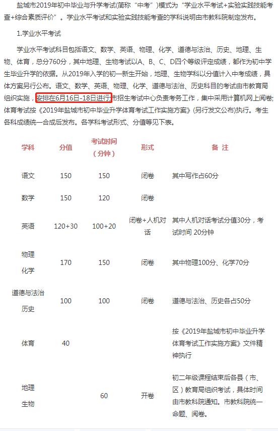 2019年江苏盐城中考考试时间:6月16日-18日