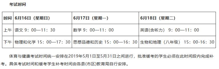 2019年甘肃平凉中考考试时间:6.1