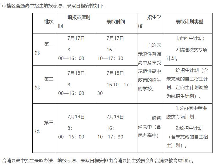 2019年广西北海中考志愿填报时间:7月17日-7月19日